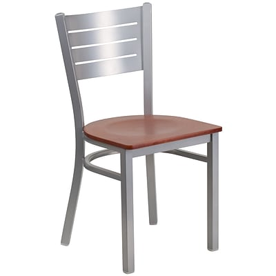 Flash Furniture  Hercules Slat-Back Metal Restaurant Chair, Silver w/Cherry Wood Seat XUDG60401CHYW