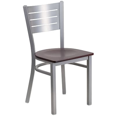 Flash Furniture Hercules Series Silver Slat Back Metal Restaurant Chair, Mahogany Wood Seat,