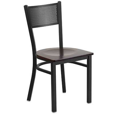 Flash Furniture Hercules Series Black Grid Back Metal Restaurant Chair, Walnut Wood Seat,