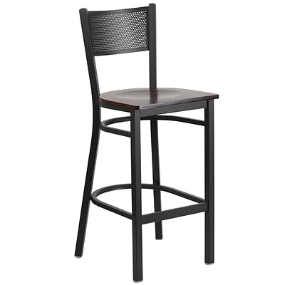 Flash Furniture Hercules Series Grid-Back Metal Restaurant Barstool, Black w/Walnut Wood