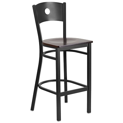 Flash Furniture Hercules Series Metal Circle Back Restaurant Barstool, Black w/Walnut Wood