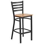 Ladder Back Restaurant Barstool Blk w/Nat