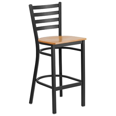 Flash Furniture Hercules Series Metal Ladder Back Restaurant Barstool, Black w/Natural Wood