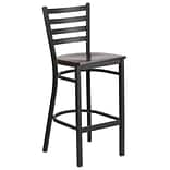 Ladder Back Restaurant Barstool w/Walnut Se
