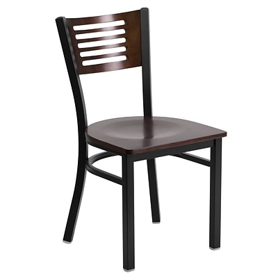 Flash Furniture Hercules Series Decorative Slat-Back Metal Restaurant Chair, Blk w/Walnut Wood Back