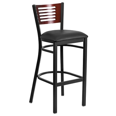 Flash Furniture Hercules 32 Black Decorative Slat Back Metal Restaurant Barstool, Mahogany, Seat,