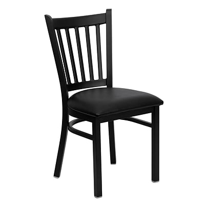 Flash Furniture Hercules Series Black Vertical Back Metal Restaurant Chair, Black Vinyl Seat,