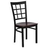Blk Window Back Restaurant Chair Mahog