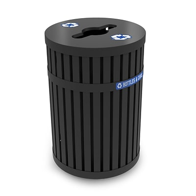 Commercial Zone Products® ArchTec Series, Parkview 3 45gal Recycling Receptacle, Black (728201)