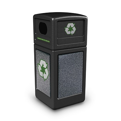 Commercial Zone Products® Green Zone Series Recycle42 StoneTec® Recycling Container, Black with Pepperstone (72231399)