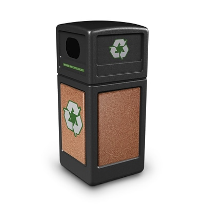 Commercial Zone Products® Green Zone Series Recycle42 StoneTec® Recycling Container, Black with Sedona (72231499)