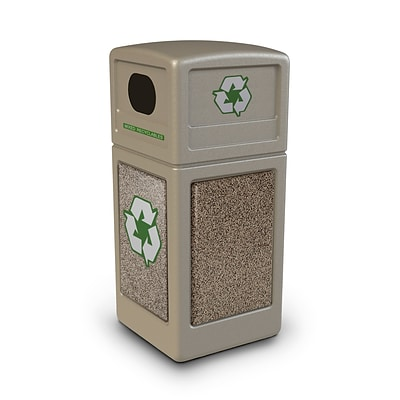 Commercial Zone Products® Green Zone Series Recycle42 StoneTec® Recycling Container, Beige with Riverstone (72231599)