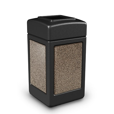 Commercial Zone Products® 42gal Square StoneTec® Trash Receptacle, Black with Riverstone Panels (720352)