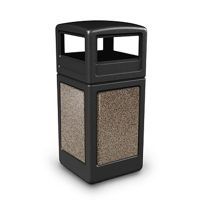 Commercial Zone Products® 42gal Square StoneTec® Trash Receptacle with Dome Lid, Black with Riverstone Panels (72045299)
