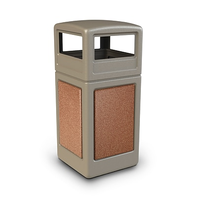 Commercial Zone Products® 42gal Square StoneTec® Trash Receptacle with Dome Lid, Beige with Sedona Panels (72041699)