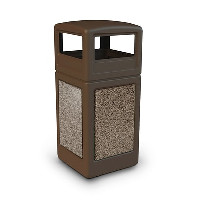 Commercial Zone Products® 42gal Square StoneTec® Trash Receptacle with Dome Lid, Brown with Riverstone Panels (72045599)