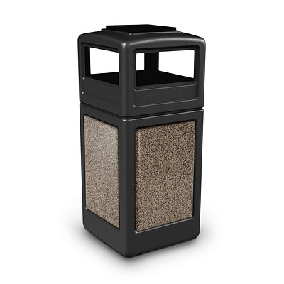 Commercial Zone Products® 42gal Square StoneTec® Trash Receptacle with Ashtray Dome Lid; Black with Riverstone Panels (72055299)