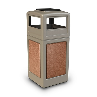 Commercial Zone Products® 42 Gallon Square StoneTec® Trash Receptacle with Ashtray Dome Lid, Beige with Sedona Panels (72051699)