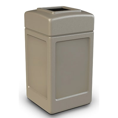 Commercial Zone Products® PolyTec Series 42gal Square Waste Container, Beige (732102)