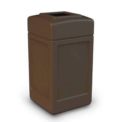 Commercial Zone Products® PolyTec Series 42gal Square Waste Container, Brown (732137)