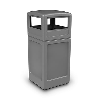 Commercial Zone Products® PolyTec Series 42gal Square Waste Container with Dome Lid, Gray (73290399)
