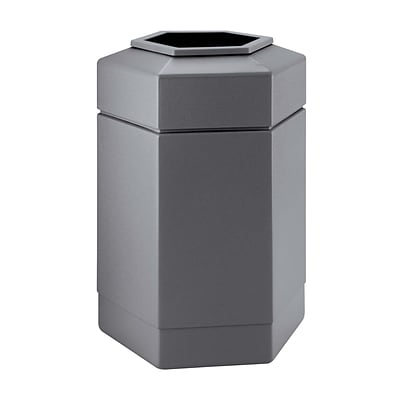 Commercial Zone Products® PolyTec Series 30gal Hex Waste Container, Gray (737103)