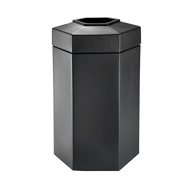 Commercial Zone Products PolyTec Series 50 Gallon Hex Waste Container, Black (737501)