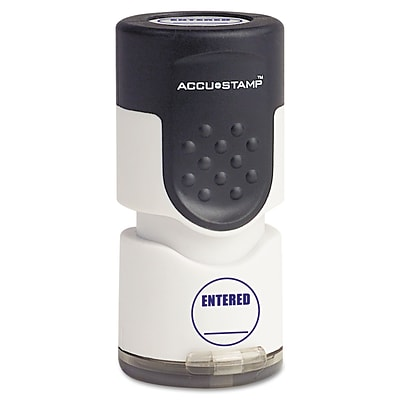 ACCUSTAMP Accustamp Pre-Inked Round Stamp With Microban, Entered, 5/8 Dia., Blue