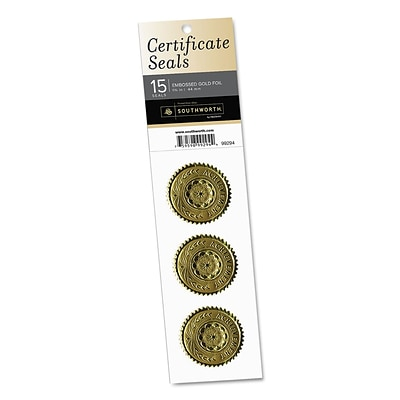 Southworth Certificate Seals, achievement, 1 3/4 Dia., Gold, 15/pack
