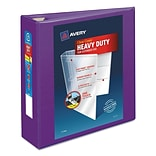 Avery Heavy-Duty View Binder with 3 One Touch EZD Rings, 670 Sheet Capacity, Purple (79810)