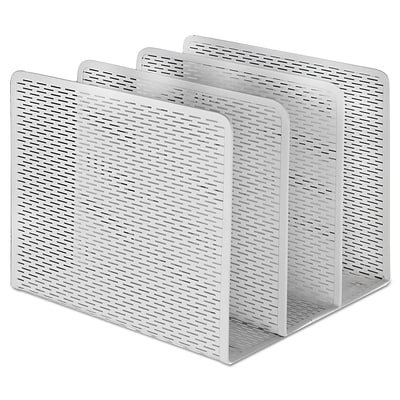 Artistic Urban Collection Punched Metal File Sorter, Three Sections, 8 x 8 x 7.2, White (ART20009WH)