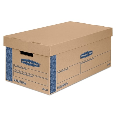 Bankers Box SmoothMove Tape Free FastFold Prime Moving Boxes with Lift-Off Lid, Small (24x12x10), 8/Ct (0065901)