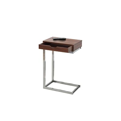 Monarch Specialties Accent Table In Walnut and Chrome With A Drawer ( I 3070 )
