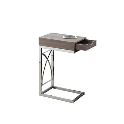 Monarch Specialties Accent Table In Chrome and Dark Taupe ( I 3173 )