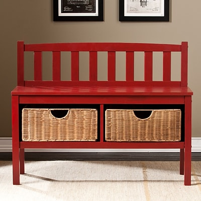 Southern Enterprises Bench with Storage Baskets, Red (BC9518)