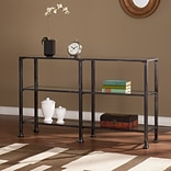 Southern Enterprises Metal/Glass 3-Tier Console Table, Distressed Black (CM8771)