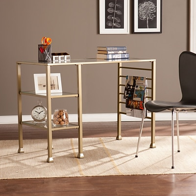 Southern Enterprises Metal/Glass Writing Desk, Matte Gold (HO3776)
