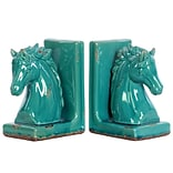 Stoneware Bookend 6x4x8.5 Turquoise 2pc
