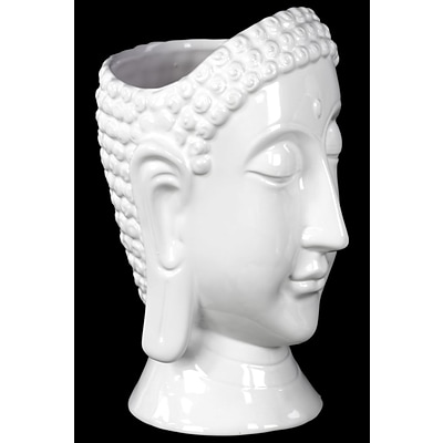 Urban Trends Ceramic Buddha Head Vase; 6 x 6.5 x 10, White (28567)