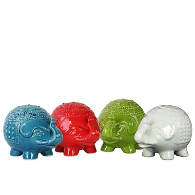 Urban Trends Ceramic Figurine; 8.25L x 5.25W x 6H, White, Red, Green, Turquoise, 4set (34429-AST)
