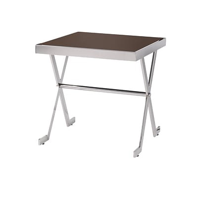 Kenroy Home Campaign Accent Table Stainless Steel with Espresso Tempered Glass (65005SSTL)