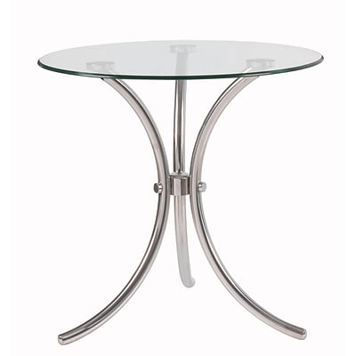 Kenroy Home Trio Accent Table Stainless Steel with Clear Tempered Glass (65006SSTL)