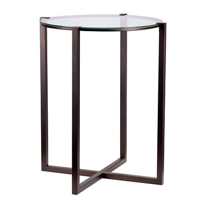 Kenroy Home Lodin Accent Table Satin Bronze Finish with Clear Tempered Glass (65023SBRZ)