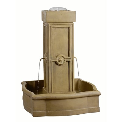 Kenroy Home Quatrafoil Outdoor Floor Fountain Sandstone Finish 50056SS