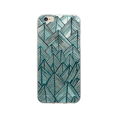 OTM Artist Prints Clear Phone Case for Use with iPhone 6/6S; Rocks Teal (OP-IP6V1CLR-ART01-20)
