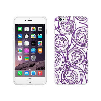 OTM Classic Prints White Phone Case for iPhone 6 Plus; New Age Swirls of Amethyst (IP6PWG-AGE-02V4)