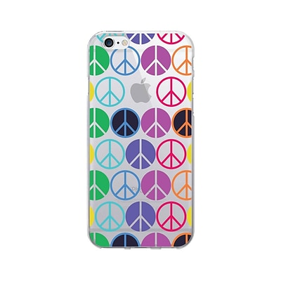 OTM Hipster Prints Phone Case for Use with iPhone 6/6S; Rainbow Peace, Clear (IP6V1CLR-GRV-03)