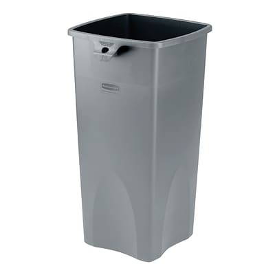 Rubbermaid® Untouchable® Plastic Waste Receptacle, Gray, 23 gal.