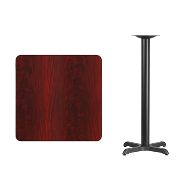 Flash Furniture 30 Square Laminate Table Top, Mahogany w/22x22 Bar-Height Table Base