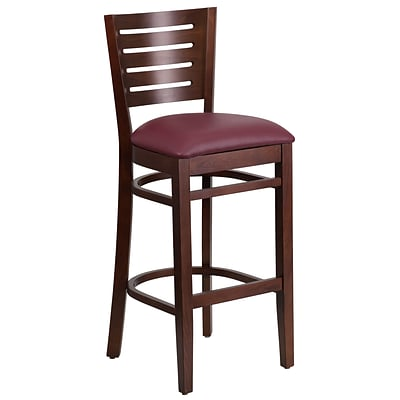 Flash Furniture Darby Series Slat-Back Wood Restaurant Barstool, Walnut w/ Burgundy Vinyl Seat